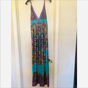 Tribal Floral Maxi Beach Dress